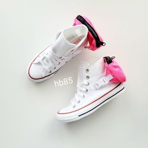Converse Buckle Up Hi White/Neon Pink/White